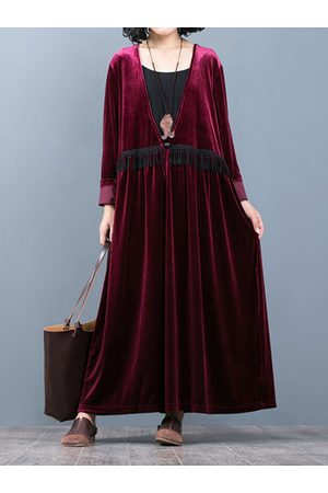 Newchic O-NEWE Tassels Stitching Velvet Robe Dress