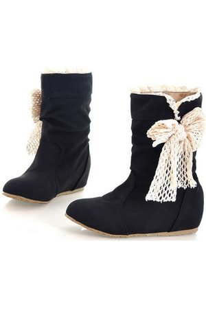 Newchic Women Snow Boots - Women Butterfly Knot Pu Leather Mid Calf Snow Boots