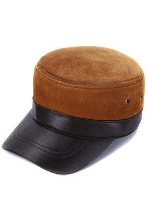 Newchic Men Durable Genuine Leather Breathable Warm Flat Cap