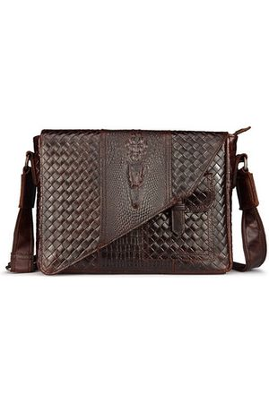 Newchic Men Laptop Bags - Crocodile Shoulder Bag Genuine Leather Crossbody Bag Business Horizontal Bag For Men