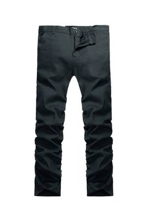 Newchic Men's Spring Summer Casual Business Solid Color Slim Fit Long Trousers Straight Pants