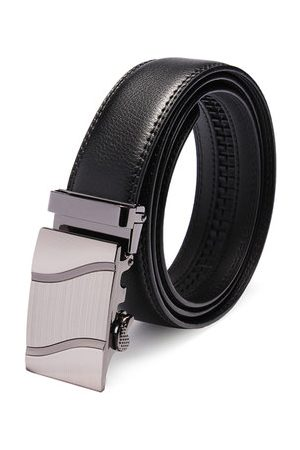 Newchic Automatic Buckle Black Leather Business Leisure Men's Belt