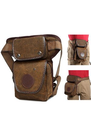 Newchic Retro Outdoor Canvas Leg Bag Solid Sports Waist Bag Casual Portable Bag For Men