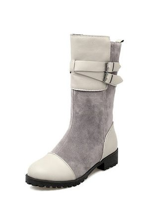 Newchic Women Snow Boots - Big Size Suede Belt Buckle Fur Lining Mid Calf Snow Boots For Women