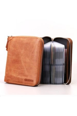 Newchic 40/20 Card Slots Card Holder Genuine Leather Zipper Wallet