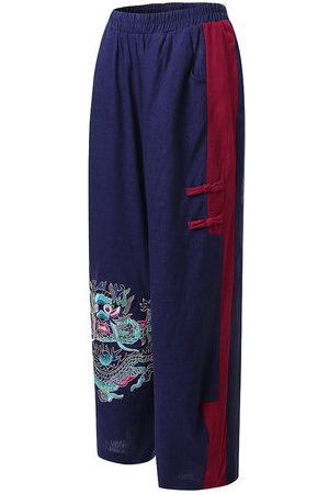 Newchic Embroidery Stitching Color Lantern Pant