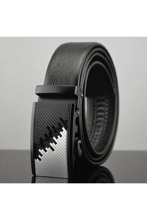 Newchic Men Belts - Mens Business Automatic Buckle Cowhide Leather Belt Casual High Luxury Alloy Buckle Jeans Waistband