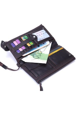 Newchic Genuine Leather Double Zippers Wallet 8 Card Slots Business Card Holder Phone Bag