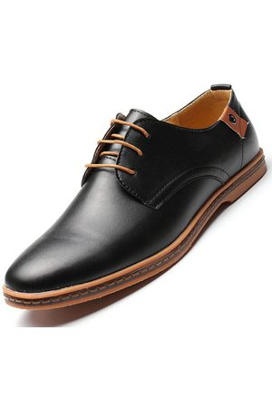 Newchic Big Size Men Pure Color Lace Up European British Style Flat Casual Oxford Shoes