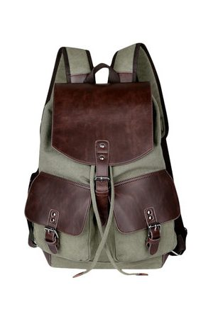 Newchic Vintage Canvas Travel Backpack Big Capacity Wear-Resisting PU Leather Bag For Men