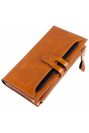 Newchic Women Elegant Genuine Leather Long Wallet Card Bag Ladies Vintage Casual Wallet Purse