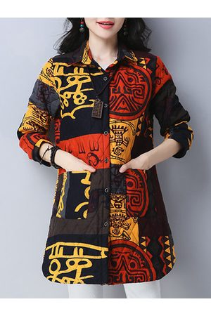 Newchic Ethnic Printed Long Sleeve Cotton Coats