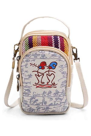 Newchic Women Canvas Patchwork Chinese Style Crossbody Bag Phone Wallet Purse For Iphone Samsung