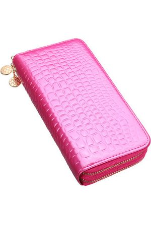 Newchic Women Wallets - Crocodile Patent Leather Double Zipper Wallet