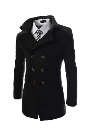 Newchic Men Trench Coats - Mens Solid Double Breasted Mid-Long Thicken Trench Coat