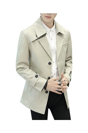 Newchic Mens Fashion Solid Mid-Long Slim Fit Thin Trench Coat