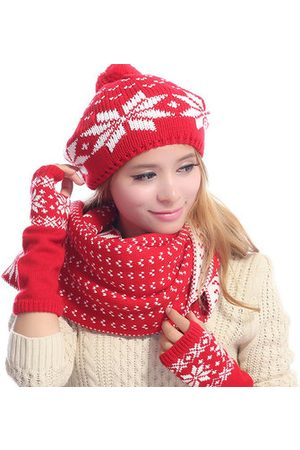 Newchic Women Warm Kintted Hat Scarves Gloves Set