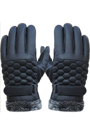 Newchic Outdoor Sport Driving PU Leather Grid Gloves Screen Touch Skidproof Windproof Mittens