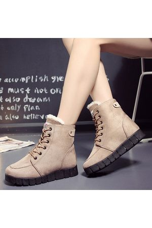 Newchic Women Lace-up Boots - Pure Color Lace Up Ankle Casual Warm Boots