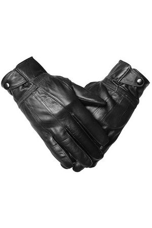 Newchic Male Warm Cycling Driving Outdoor Gloves Oblique Buckles Sheepskin Leather Mittens