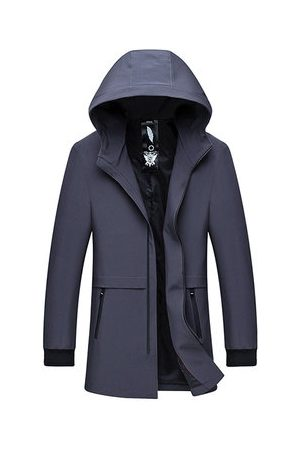 Newchic Men Trench Coats - Business Casual Hooded Trench Coat for Men