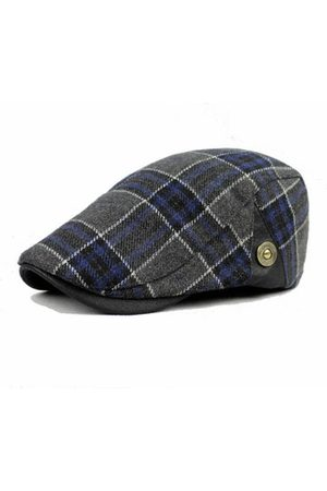 Newchic Male Wool Blend Grid Blank Newsboy Beret Cap Thick Winter Flat Cowboy Cabbie Hat