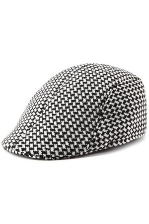 Newchic Men Caps - Men's Autumn And Winter Casual Cotton Houndstooth Casual Beret Cap