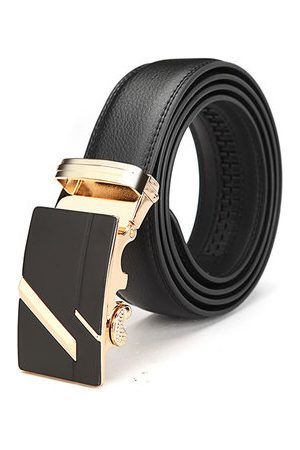 Newchic Gold Silver Alloy Adejustable Automatic Frosted Buckle Men's Cowhide Business Belt