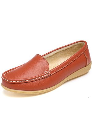 Newchic Women Loafers - Fur Lining Leather Flats