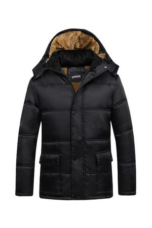 Newchic Men's Winter Casual Jacket Cotton Thick Warm Hooded Black Trench Coat