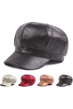 Newchic PU Leather Warm Octagonal Baseball Beret Cap