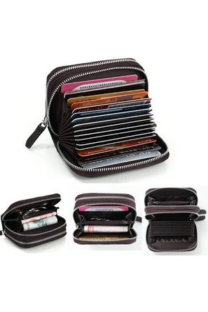 Newchic Women Short Double Zipper Genuine Leather Wallet Cards Cash Coins Holder Casual Purse
