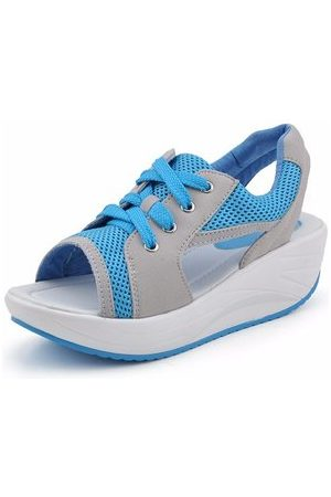 Newchic Hollow Out Color Match Casual Fish Mouth Lace Up Shook Platform Sandals