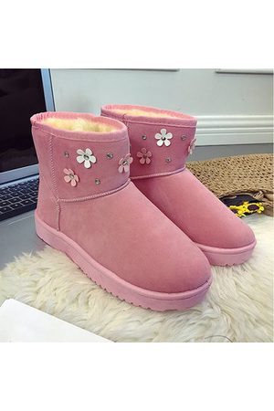 Newchic Flower Pure Color Ankle Snow Boots