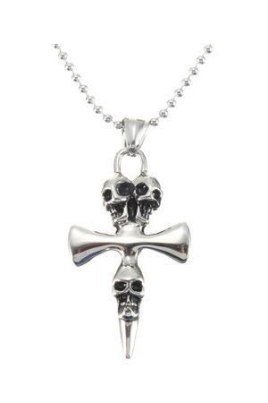 Newchic Men Necklaces - Silver Cross Skull Pendant Ball Chain Necklace