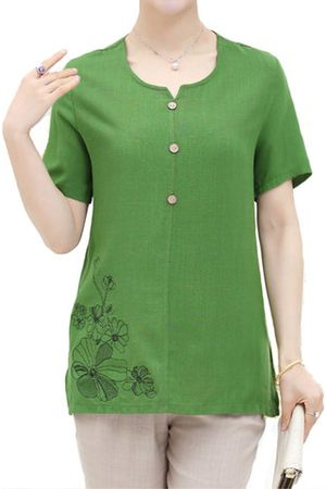 Newchic Casual Loose Embroidery Short Sleeve Blouses For Women