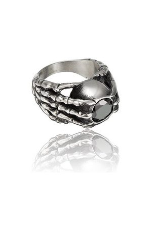 Newchic Men Rings - Black Stone Claw 361L Stainless Steel Ring