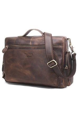 Newchic Men Laptop Bags - Vintage Genuine Leather Crossbody Bag For Men