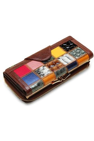 Newchic Women Wallets - Women Genuine Leather Trifold Stitching Wallet