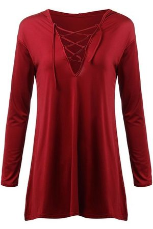 Newchic Women Long Sleeve V Neck Lace Up Pure Color Hooded T-Shirt