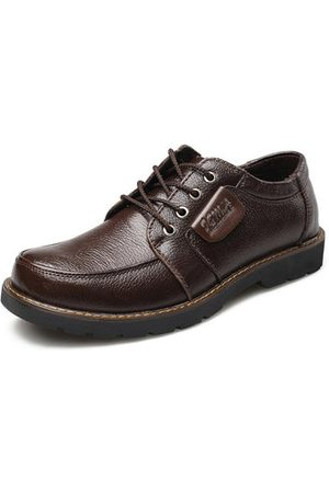 Newchic Men Genuine Leather Big Head Casual Shoes
