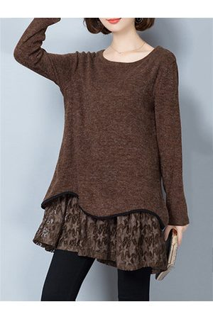 Newchic Women Casual Dresses - Fashion Knitted Lace Hem Mini Dress