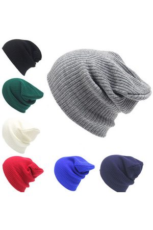 Newchic Winter Solid Knitted Warm Skullies Beanies Hats