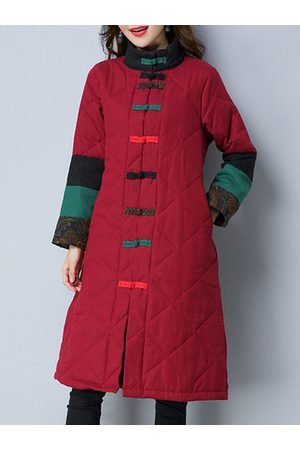 Newchic Women Coats - Ethnic Printed Patchwork Women Coats