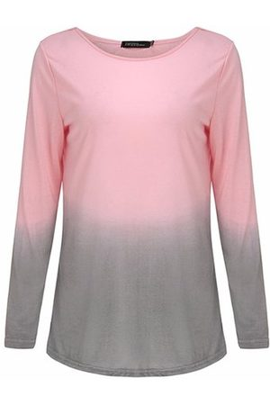 Newchic Women Long Sleeve - Casual Women O-Neck Long Sleeve Gradient Color Cotton T-shirt