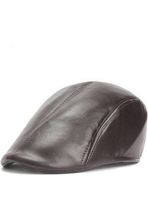 Newchic Vintage PU Leather Solid Beret Cap