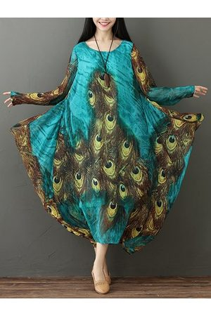 Newchic Women Printed Dresses - Peacock Feather Print Flowy Dresses