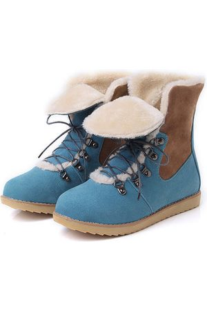 Newchic Women Lace-up Boots - Color Match Lace Up Foldable Boots