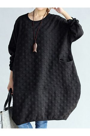 Newchic O-NEWE Polka Dot Embossed Sweatshirt Dress