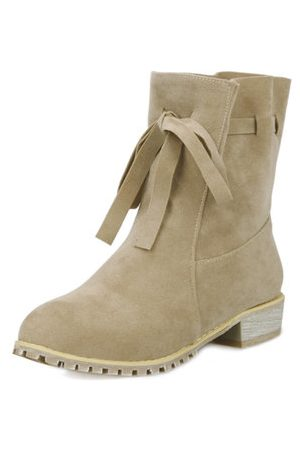 Newchic Women Lace-up Boots - Suede Lace Up Ankle Mid Heel Casual Boots